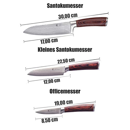 Wakoli 3er Damastmesser Set in Holzbox – VG-10, Edib - 5