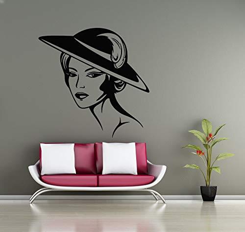 mlpnko Schönheitssalon Wandtattoo schöne Frau Hut Make-up Styling Silhouette Wandaufkleber Vinyl Kunst Wandbild 63X75cm
