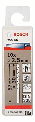 Bosch Professional Metallbohrer HSS-Cobalt (10 Stück, Ø 2,5 mm)