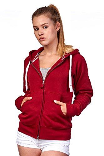 Happy Clothing Damen Sweatjacke mit Kapuze Zip Hoodie Kapuzenjacke Basic Einfarbig S M L, Größe:M, Farbe:Bordeaux