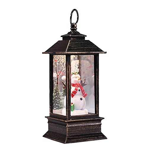 Lanterna di Natale a LED con scena di Babbo Natale, decorazione lanterna da esterno vintage | Lanterne di Natale con luci notturne di palle di neve di Natale per feste di Natale(pupazzi di neve)