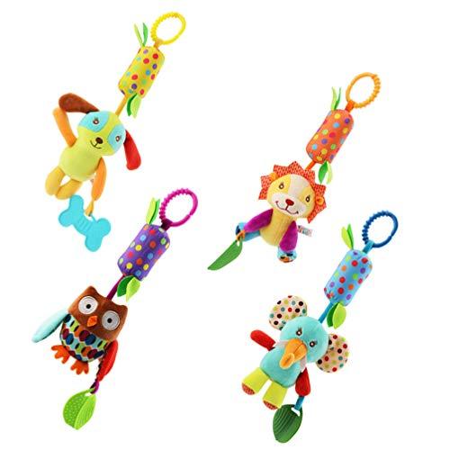 Toyvian 4pcs neonato bambino sonaglio giocattolo letto appeso campane rotanti campane comodini per passeggino carrozzina seggiolino auto