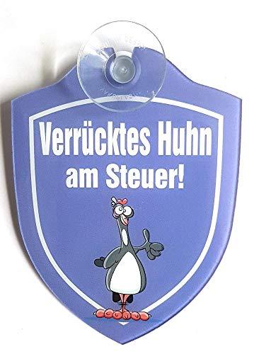 Schilder Lustige Windschutzscheibe inkl. Saugnapf/Autoschilder verrücktes Huhn (verrücktes Huhn)