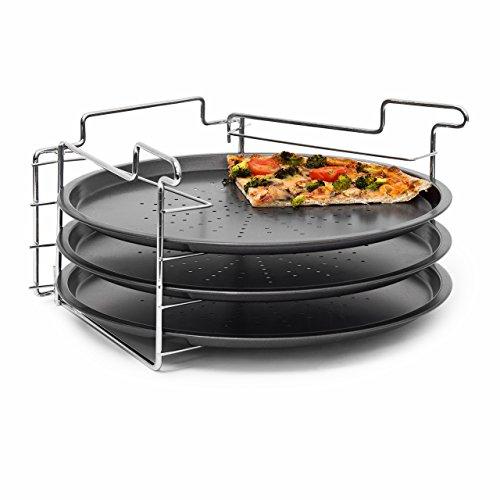 Relaxdays Pizzabäcker Set, 3 Pizzableche m. Halterung, Backblech f. Pizza 30 cm D, beschichtetes Pizzabackblech, grau