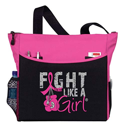 "Fight Like a Girl Breast Cancer Tote Bag w/Boxing Gloves""Dakota"" (Pink)"