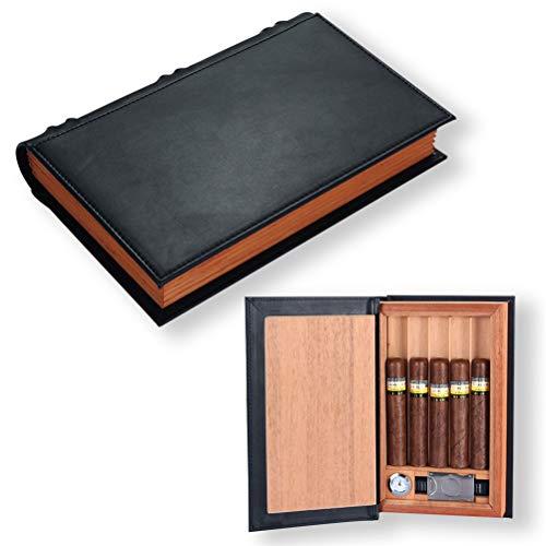 N \ A Tragbare Zigarren Humidor Fall, Persönlichkeit Zeder Holz Zigarren Aufbewahrungsbox mit Luftbefeuchter Hygrometer und Zigarrenschneider, hält 5 Zigarren für Männer, Vater