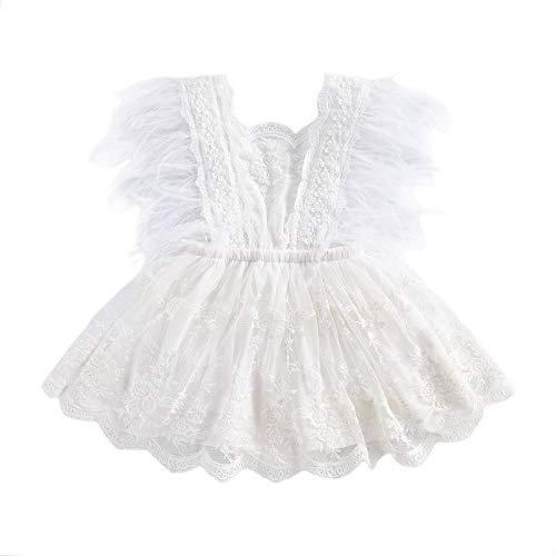 I3CKIZCE Body de payaso para bebé, de 0 a 24 meses, con encaje bordado, tutú, sin mangas, encaje, moderno, dulce y casual Color blanco. 0-6 Meses