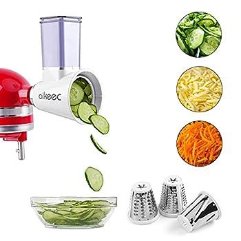 Slicer Shredder Attachment for KitchenAid Stand Mixer,Cheese Grater Attachment,Fresh Prep Attachment as Kitchenaid Mixer Attachments by aikeec  White