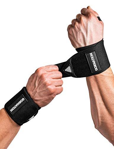 GORNATION Power Wrist Wraps/Muñequeras Gym para una máxima Estabilidad y Mejor Rendimiento Entrenamiento con Pesas, musculación, Crossfit y calistenia - para Hombres y Mujeres (Black)