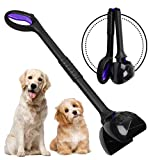 Chrider Non-Breakable Pet Pooper Scooper for Large and Small Dogs, Long Handle Portable Dog Pooper Scooper, Foldable Dog Poop Waste Pick Up Rake - Purple