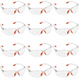 Kurtzy 12 Pack of Wrap Around Safety Glasses with Clear Lenses and Rubber Nose and Ear Grips for a Safe Fit - Personal Protective Equipment with Scratch Resistant Eyewear Lenses - PPE Safety Goggles