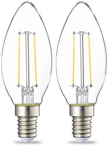 AmazonBasics E14 LED Lampe, Kerzenform, 2W (ersetzt 25W), klar, 2er-Pack