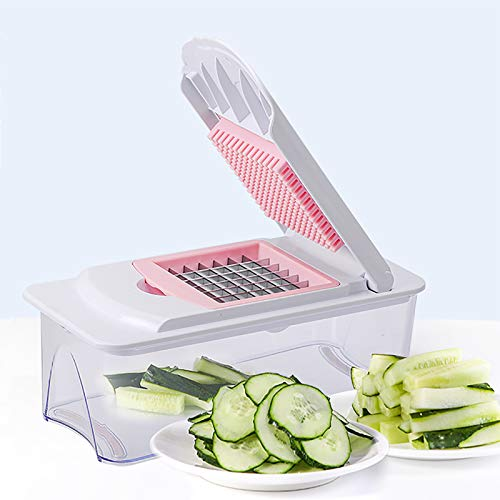 Vegetable Chopper Onion Chopper Dicer,Salad Food Chopper Multifunctional Potato Cutter with Container and Hand Guard,Mandoline Slicer Spiralizer for Cucumber Fruit Tomato Potato-Pink 37.5x11x10cm(15x4