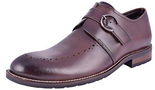 Saddle & Barnes Men's Brown Leather Monk Strap Shoes - 8 UK