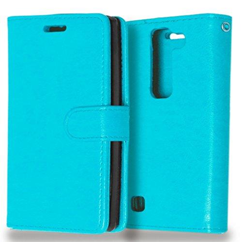 FUBAODA Spirit 4G LTE Hülle, [Kostenlos Syncwire Ladekabel][Photo View] PU Flip Leder Schmale Ständer Brieftasche mit ID/Bargeld/Karten Aussparrung für LG Spirit 4G LTE (H440N H420) (blau)