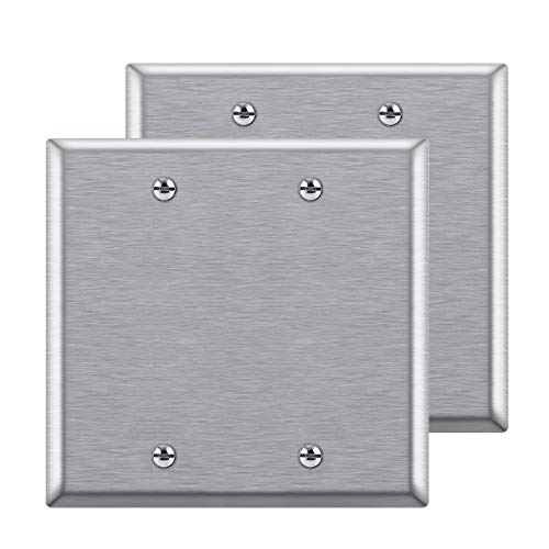 """[2 Pack] BESTTEN 2-Gang Blank Metal Wall Plate, No Device Anti-Corrosion Stainless Steel Outlet Cover, Standard Size, H4.53"""" x W4.57"""", Brushed Finish, Silver"""