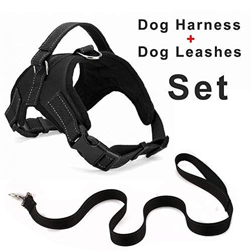 Haustier Oxford Hundegeschirr + 120cm Leinen Set for große, mittelgroße, kleine Hunde Verstellbare reflektierende Geschirre mit Dobermann-Schäferhund Husky (Color : Black, Size : XL)