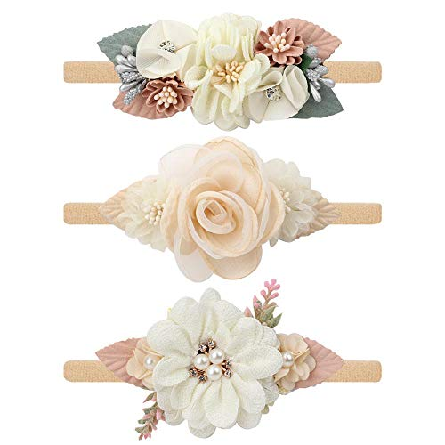 Baby Girl Nylon Headbands Infant Flower Elastic Hair band Bows Wraps For Newborn Toddler Hair Accessories Pack of 3 (Beige-1)