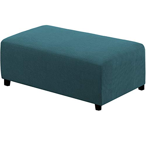 Ottoman Slipcovers Rectangle Footrest Footstool Protector Covers Stretch Fabric Storage Ottoman Covers, High Spandex Slipcover Machine Washable(Ottoman XX-Large, Deep Teal)