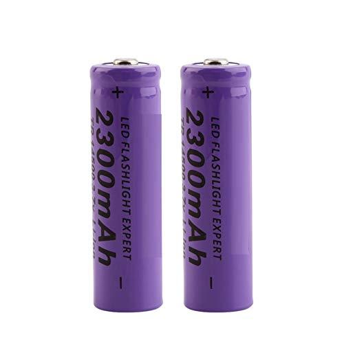 WSXYD Baterías de Litio li-Ion de 3.7V 14500 2300mAh, Recargables para la Linterna del LED 2pieces