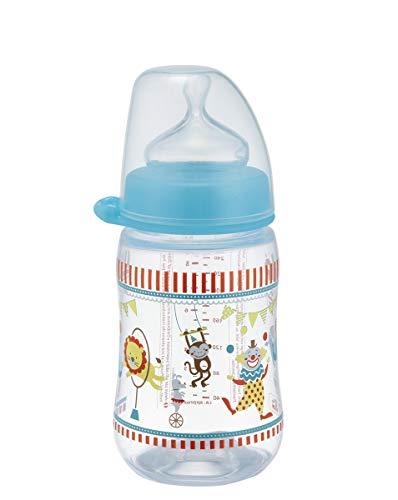 NIP Weithalsflasche mit Anti-Kolik Sauger: Baby Trinkflasche mit ACTIFLEX- System, Made in Germany, BPA-Frei, Silikon, Einheitsgröße, Saugloch M-mittlerer Trinkfluss, 260 ml,  Boy