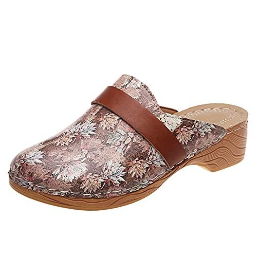 Sandalias de Palas Zuecos y Mules cómodos Casual Verano Sandalias Cerradas Mujer Bohemia Moda Aire Libre de Playa Zapatillas Mujer Zapatos Mujer tacónes Sin Cordones Plataforma con Estampado