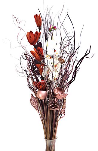 Künstlicher Blumenstrauß, getrockneter Blumenstrauß, 90 cm hoch, kupferfarben / cremefarben