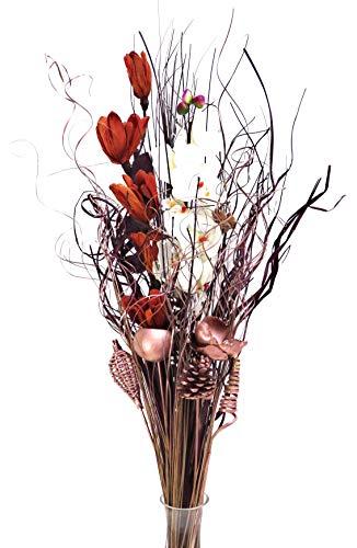 Ramo de flores secas y artificiales, de 90cm de alto, listo para colocar en florero