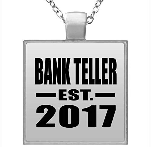 Bank Teller Established EST. 2017 - Square Necklace Halskette Quadrat Versilberter Anhänger - Geschenk zum Geburtstag Jahrestag Muttertag Vatertag