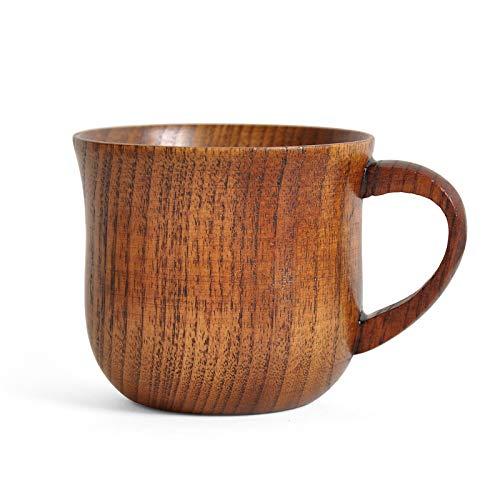 JIAYOUA Kaffeebecher, Holzschale, 130Ml Massivholz Büro-Tee-Set Teebecher, Mit Griff Weinglas