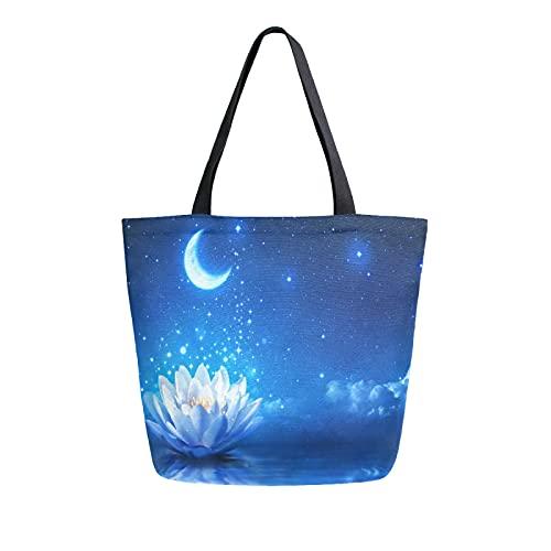 SunsetTrip - Bolsa de lona para mujer, diseño de flores florales, lirio de agua, bolsa de hombro reutilizable grande, bolsa de compras con bolsillo interior