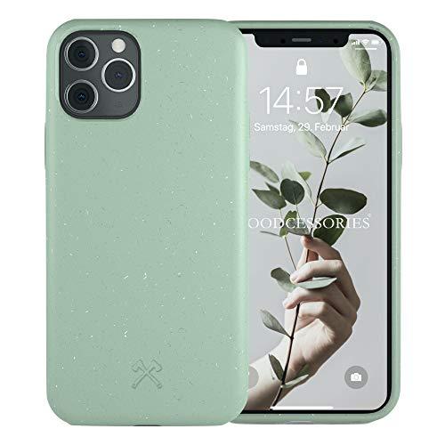 Woodcessories - Antibakterielle Bio Hülle kompatibel mit iPhone 11 Pro Hülle Mint grün - Plastikfrei, nachhaltig