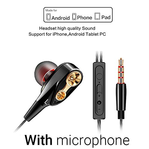 Xflelectronic Headset Microphone Bass Earphone Subwoofer for Best Pc Gamer Headset Handsfree with Mic for iPhone/IPad/ MP3 Players/Samsung/Nokia/HTC/Nexus/BlackBerry Etc,A
