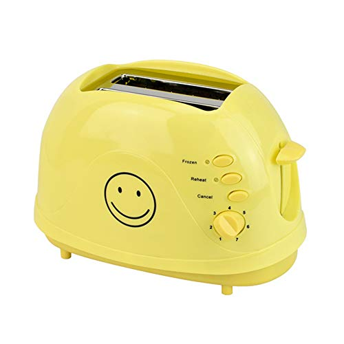 JYTNB 2-Scheiben-Toaster, Gelber Smiley-Toaster Mit 7-Fach Variabler Bräunungssteuerung, Herausnehmbarem Krümelbehälter, Schneller Und Gleichmäßiger Röstung, Auftau- / Aufwärm- / Abbruchfunktion
