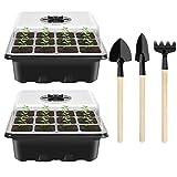 2PCS Bandeja de Germinación de Semillas, Bandejas de Germinación para Invernaderos, Bandejas de Inicio de Plántulas Semillas con 3 Herramientas de Jardinería, Ideal para Cultivo de Semillas y Plantas
