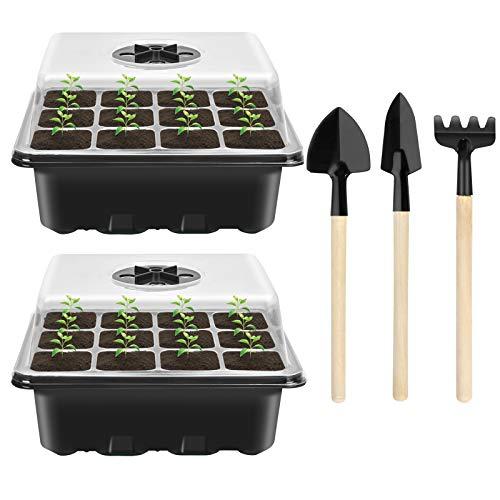 2 Stück Zimmergewächshaus Anzucht, Mini Gewächshaus Anzucht Set, Anzuchtschale mit Deckel, Kunststoff Anzuchtschalen mit 3 Gartengeräte Klein, 12 Löchern, Ideal für Saatgutkeimung und Pflanzenwachstum