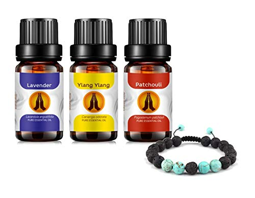 Lava Stone Aromatherapy Diffuser Bracelet and Stress Essential Oils Set - Pure Lavender, Ylang Ylang & Patchouli Oil 10ml
