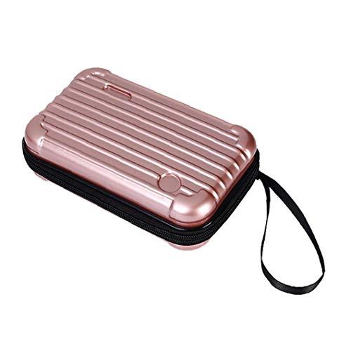 ZYCX123 Cuero de la PU Mini Maquillaje cosmético del Caso de la Maleta de Viaje de Tocador Bolso con el mitón (de Oro Rosa) Materiales de gasto y Herramientas
