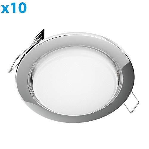 Pack 10 aros de aluminio para dicroica color DORADO CORTE /Ø60 mm Orientable LA