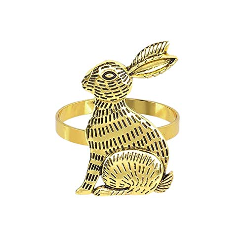adfafw Easter Bunny Napkin Rings Aluminum Alloy Rabbit Napkin Ring Holders Party Table Decorations Dinning Decoration DIY Table Setting Rack opportune