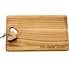 Idea Regalo - Tagliere in legno di ciliegio, misura XL, con cuore e incisione, regalo per coppie, amici, famiglia, anniversario, matrimonio Ti amo!