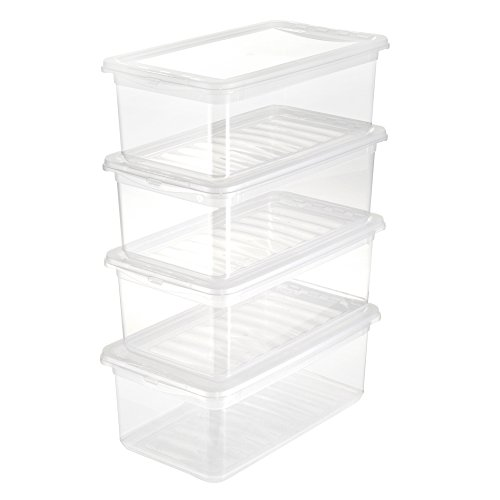keeeper Aufbewahrungsboxen mit Air Control System, 4-teiliges Set, 4 x 5,6 l, 33 x 19,5 x 12 cm, Bea, Transparent