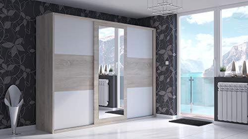 MG Home Kleiderschrank S24 mit Schiebetüren mit einem Spiegel Erle Canterbury Sonoma Eiche Wenge San Remo 18 mm Laminatplatte Dekorplatten 201 cm oder 521 cm (Sonoma + Weißer Einsatz, 251x200)