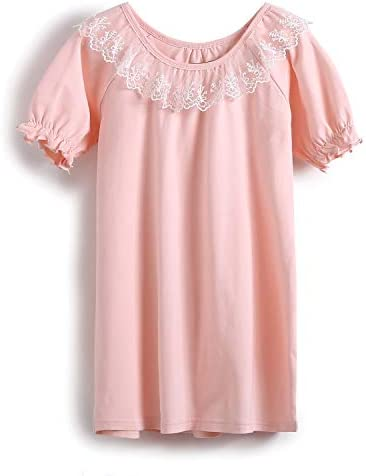 Nightgown Girls Toddler Lace Print Christian Sleep Dress Cotton Sleepwear Pure Plain Pink for product image
