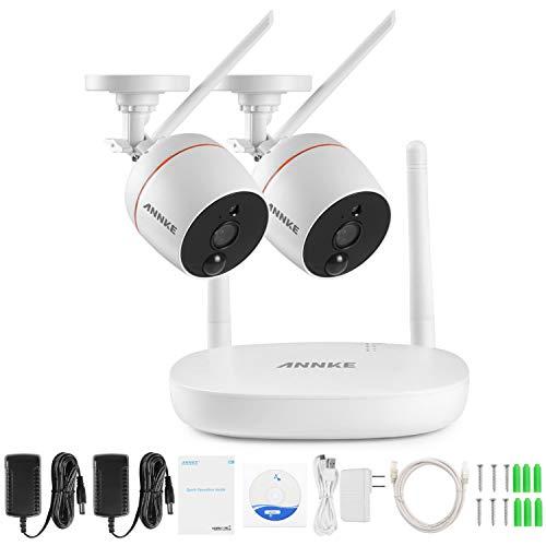 [Audio & PIR Sensor] ANNKE 1080P HD Wireless Audio Video NVR Haus Überwachungssystem mit 2 Außen Funk Überwachungskamera Set, Zwei-Wege-Audio, PIR Alarm, TF-Speicherung bis 128G