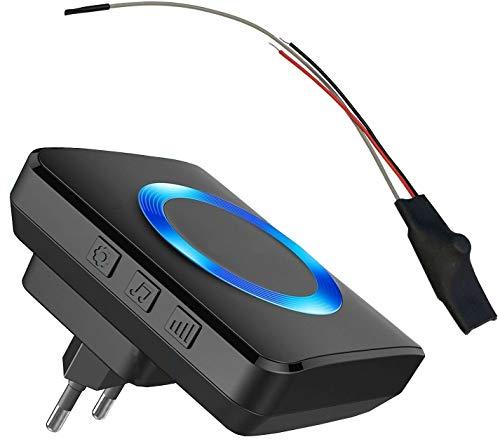 Klingel Funksignal Weiterleitung Funkkonverter Klingelerweiterung Funk Set (MT3.0 - Einbausender 4-24V AC/DC, Steckdosen Empfänger)