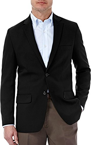 Haggar Men's in Motion Travel Stretch Tailored Fit Blazer, Black, 48R