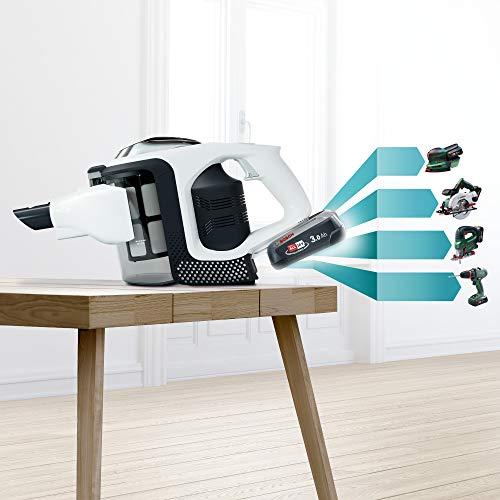 Bosch Unlimited Serie | 8 - Scopa Elettrica Ricaricabile, Aspirapolvere Multifunzione senza Fili e senza Sacco con due Batterie Intercambiabili Bosch Power For ALL, Bianco