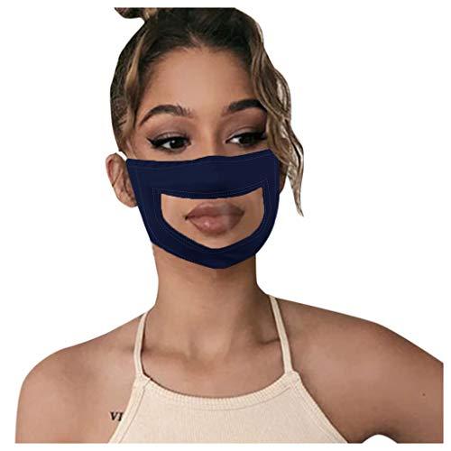 Adultos Reutilizables Pañuelos con banda Elástico para al Aire Libre 5PC sordo mudo labios labio color sólido transparente azul marino ZC-33NY