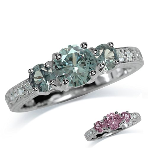 Silvershake 3 Stone Simulated Color Change Alexandrite White Gold Plated 925 Sterling Silver Ring Size 7